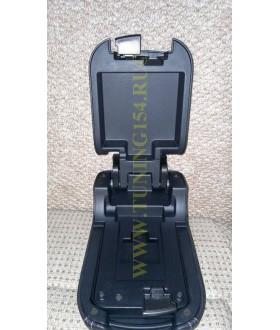 Подлокотник двойной сдвижной кожаный СЕРАЯ строчка штатный для Lancer X и Pajero Sport